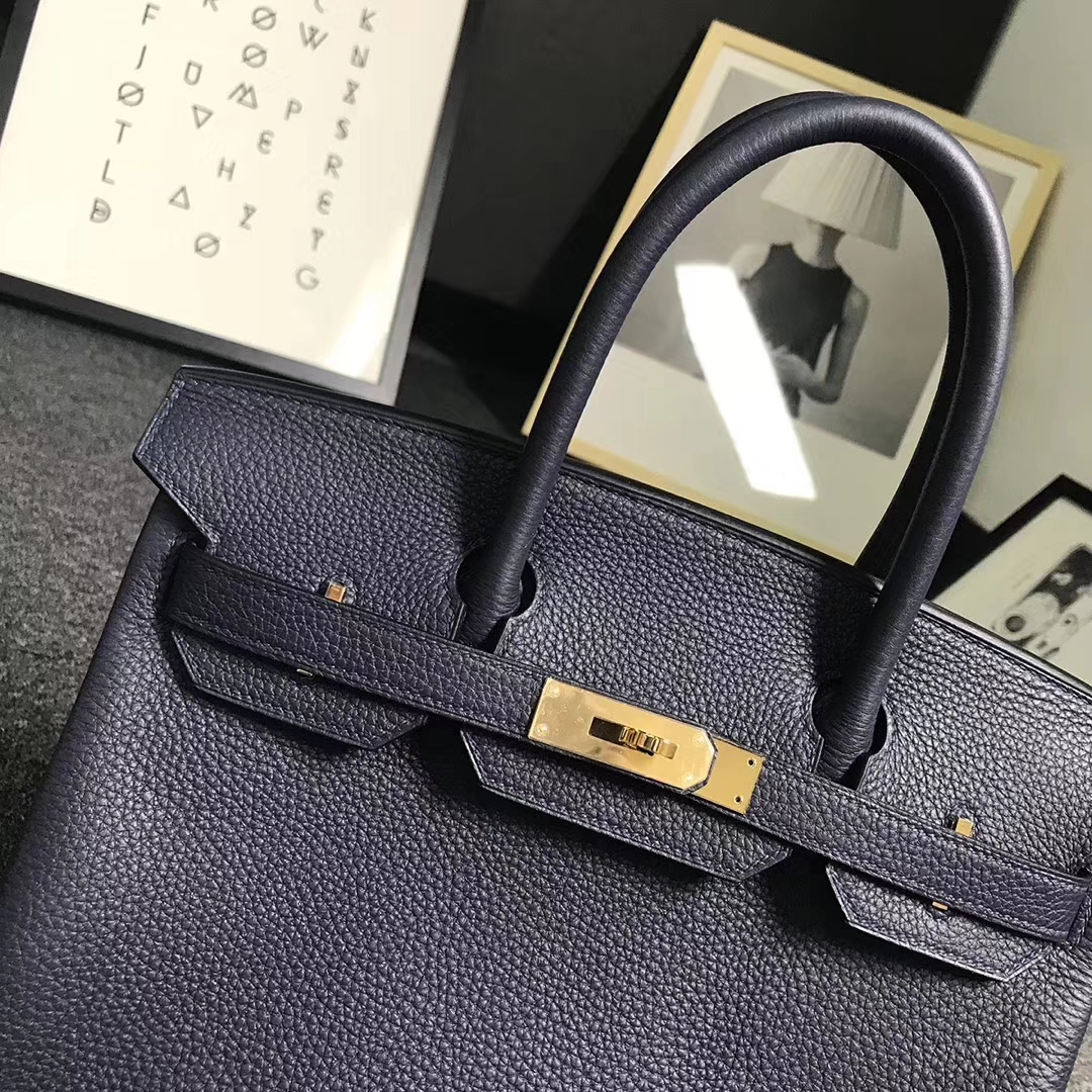 Hermès(爱马仕)午夜蓝 原厂御用顶级小牛皮 Birkin 30 金扣