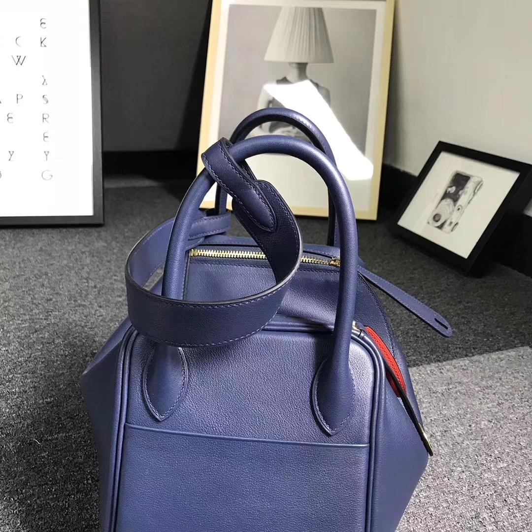 Hermès(爱马仕)宝石蓝拼罂粟橘色 原厂御用顶级Swift 皮 Lindy 30 金扣 现货