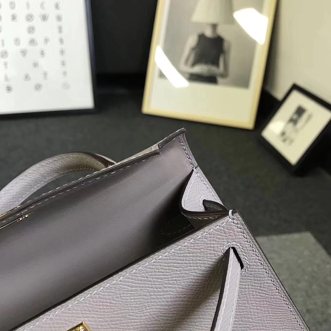 Hermès(爱马仕)M8 沥青灰 原厂御用顶级Epsom 皮  Mini Kelly 二代 金扣 现货