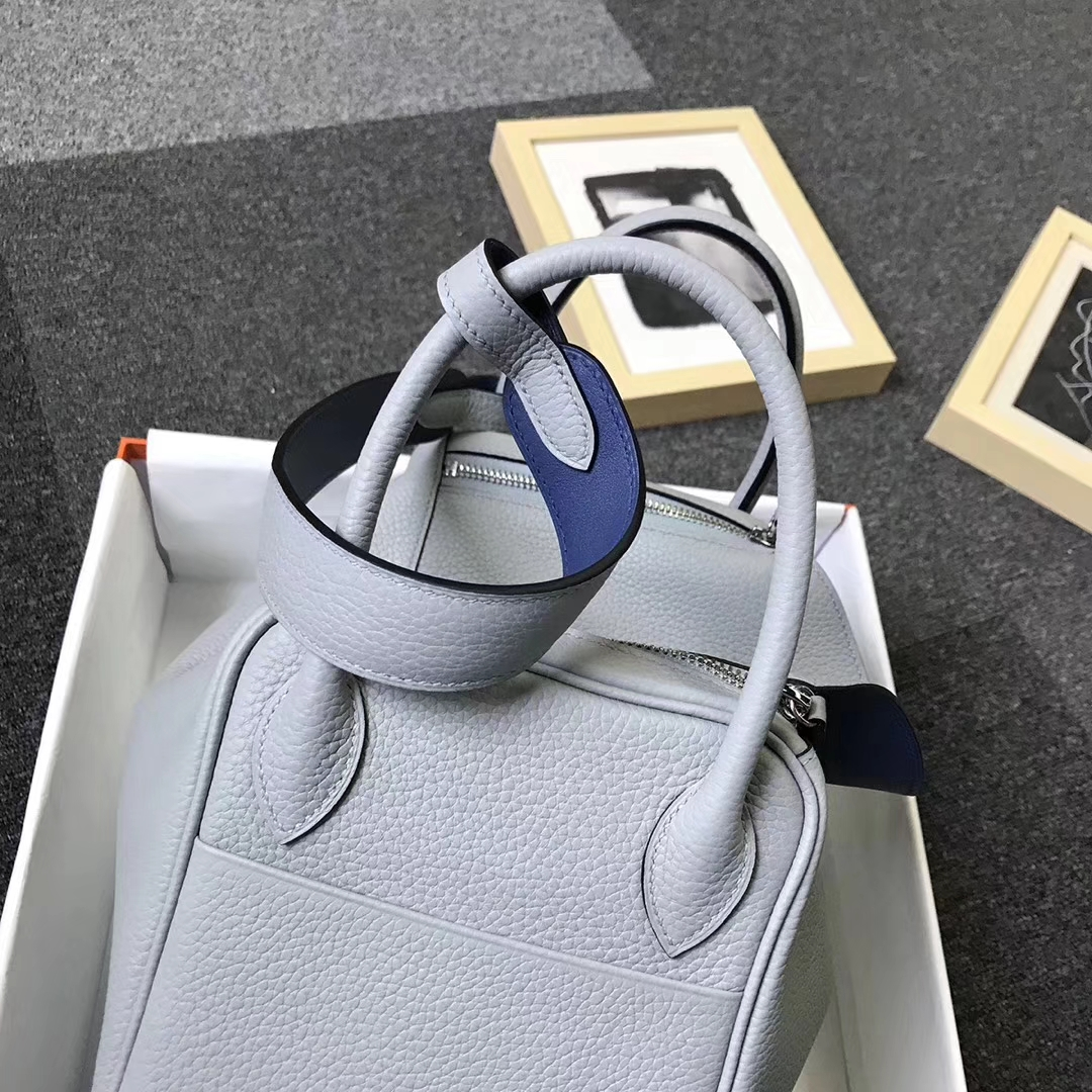 Hermès(爱马仕)4Z海鸥灰拼玛瑙蓝 原厂御用顶级TC 皮拼Swift 皮 Lindy 30 银扣