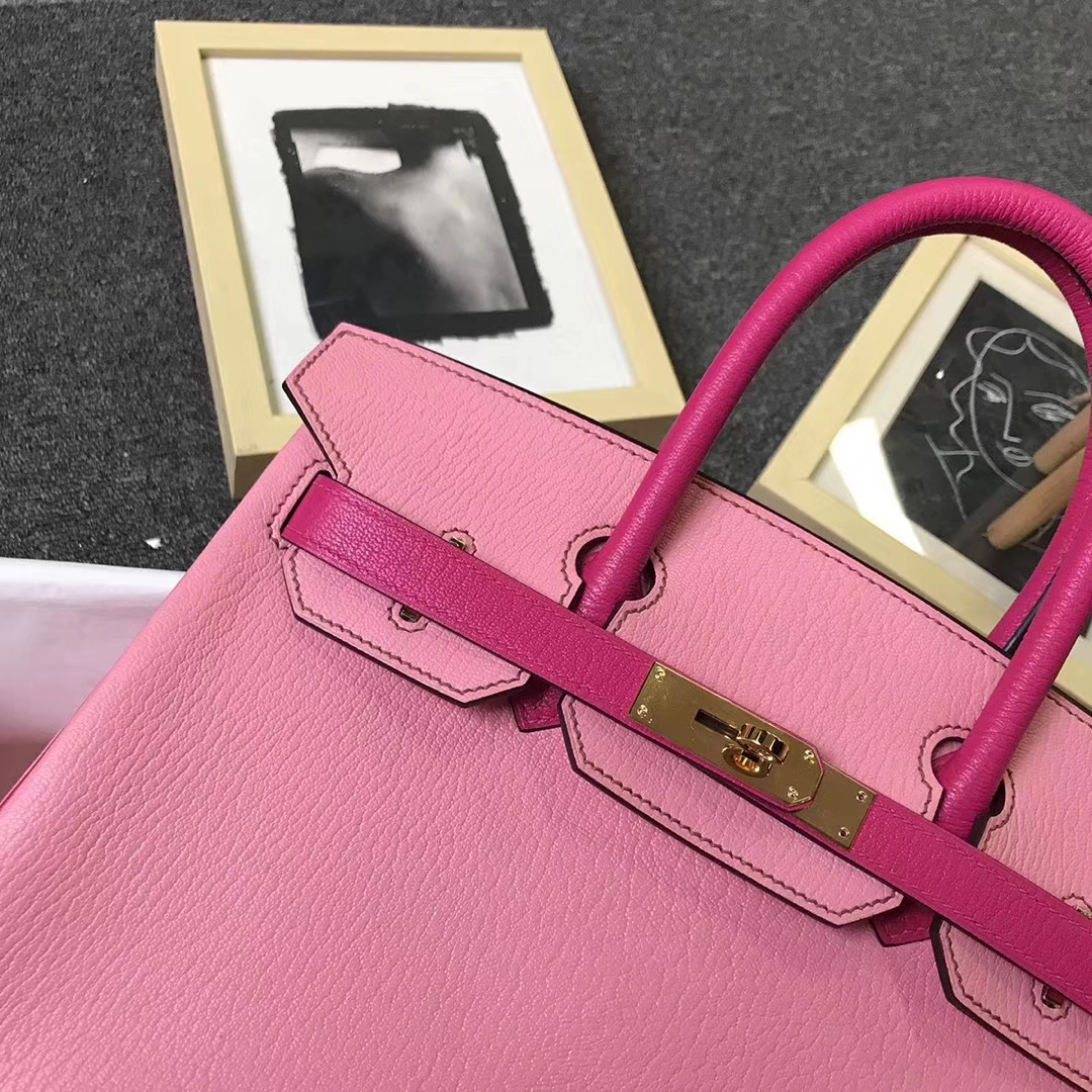 Hermès(爱马仕)5P樱花粉拼E5糖果粉 原厂御用顶级山羊皮 Birkin 30 金扣