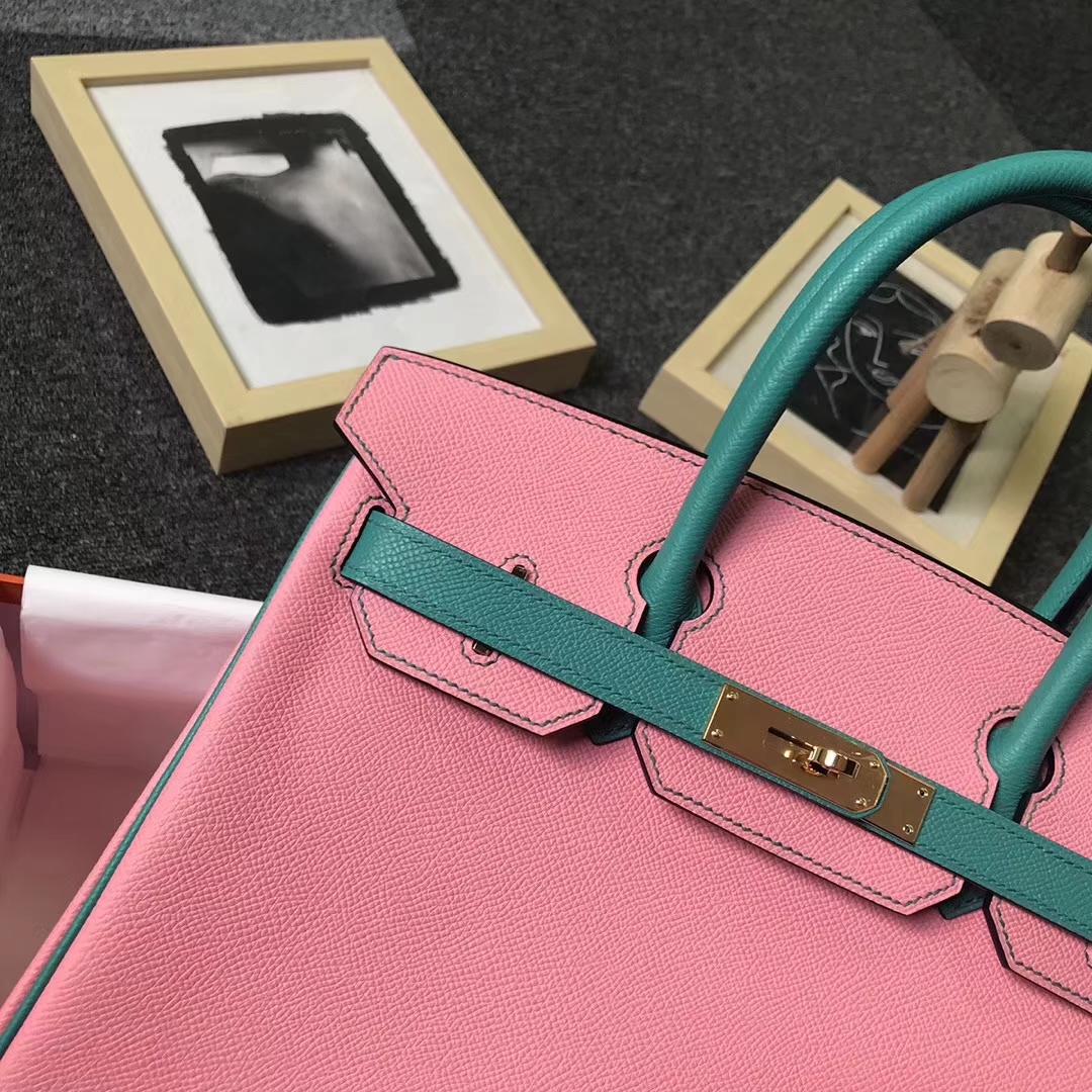 Hermès(爱马仕)1Q奶昔粉拼7F孔雀蓝 原厂御用顶级Epsom 皮 Birkin 30 金扣