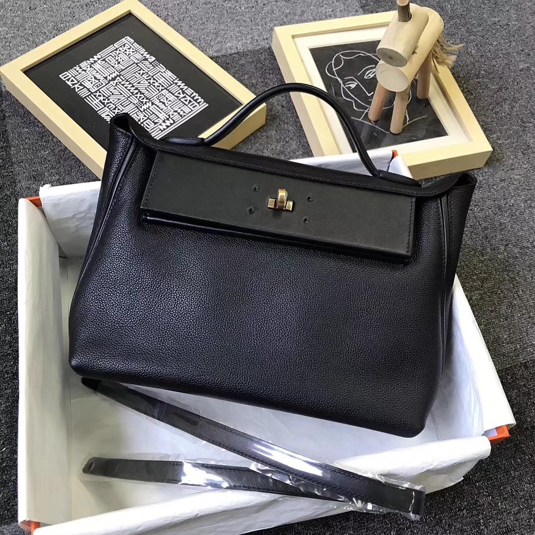 Hermès(爱马仕)89黑色 原厂御用顶级小牛皮 2424 金扣