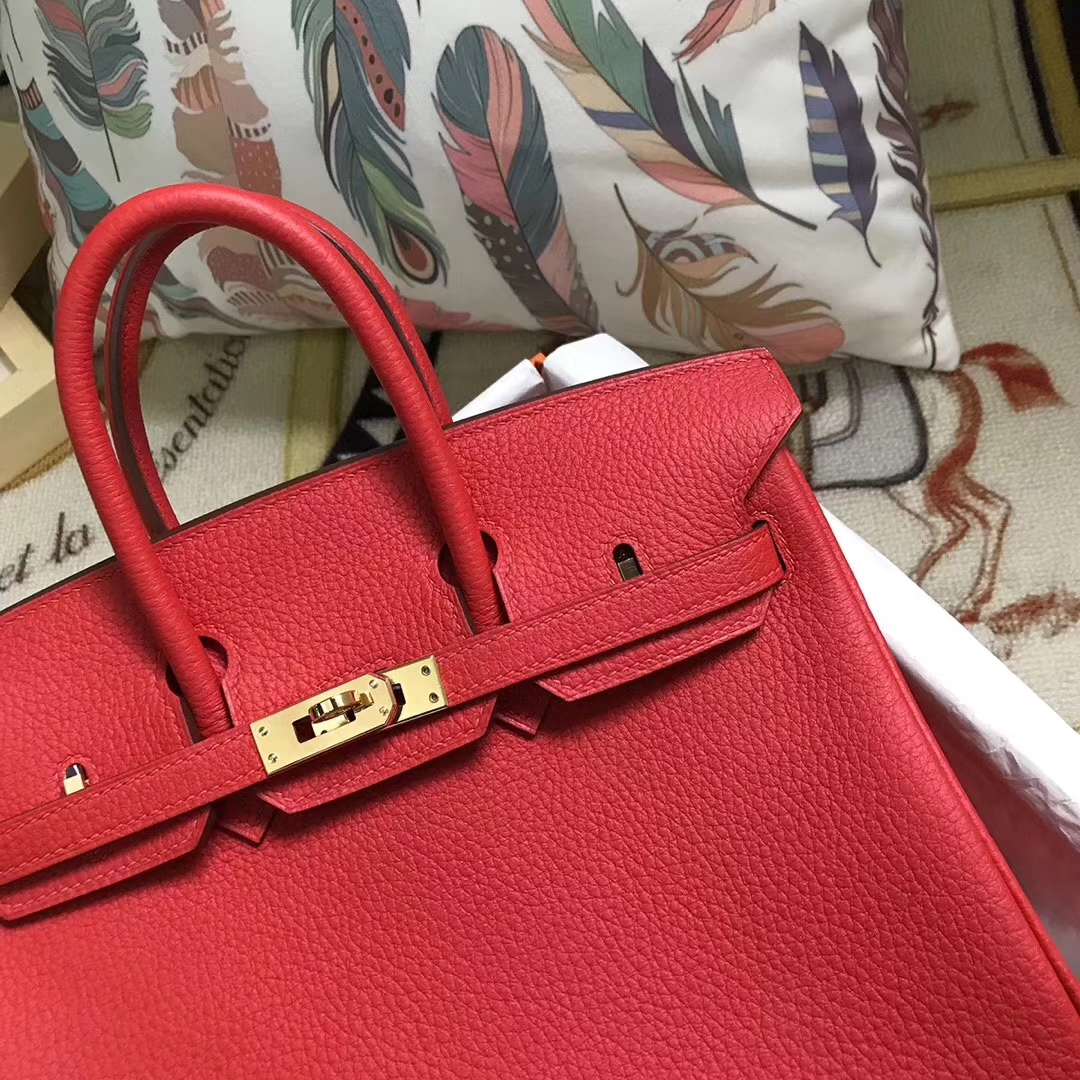 Hermès(爱马仕)S5 番茄红 原厂御用顶级小牛皮 Birkin 25 金扣 现货