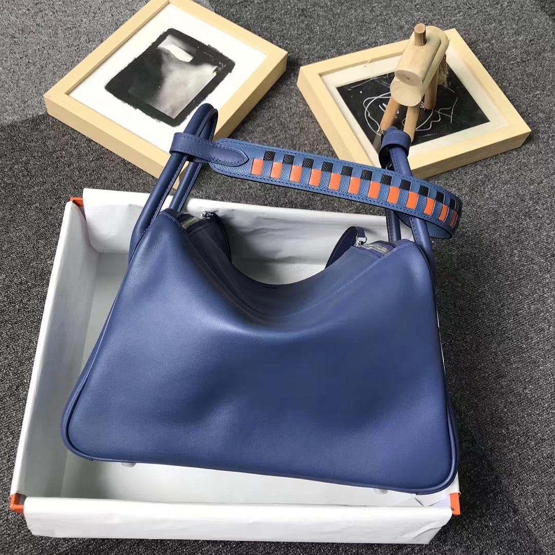 Hermès(爱马仕)R2 玛瑙蓝 编织肩带 原厂御用顶级Swift 皮 Lindy 30 银扣