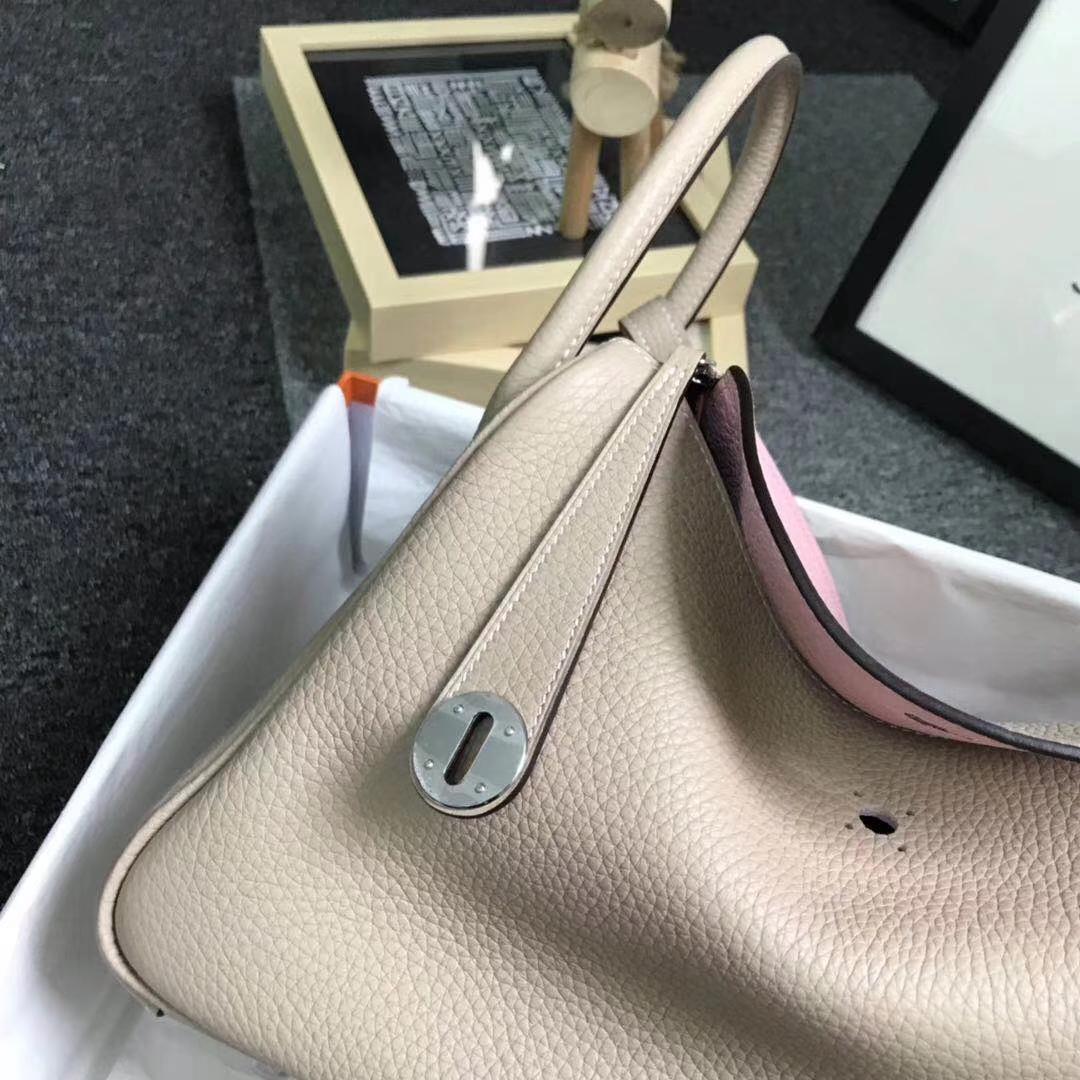 Hermès(爱马仕)S2 风衣灰拼3Q新樱花粉 原厂御用顶级TC 皮 Lindy 30 银扣