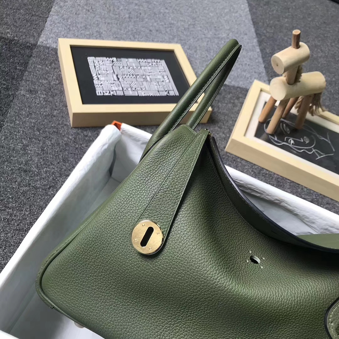 Hermès(爱马仕)V6 丛林绿 原厂御用顶级小牛皮 Lindy 30 金扣