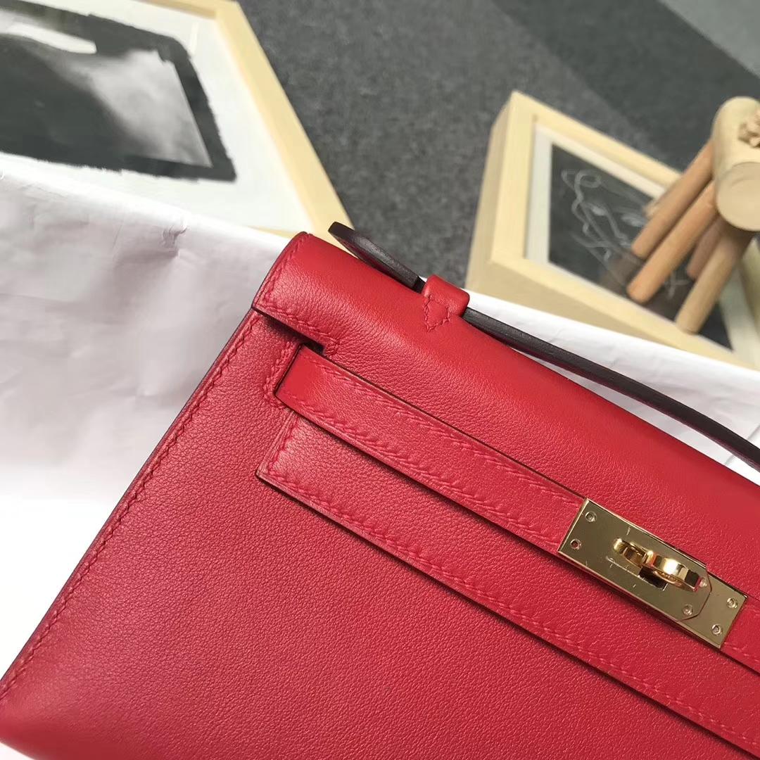 Hermès(爱马仕)Q5 中国红 原厂御用顶级Swift 皮 Mini Kelly 金扣
