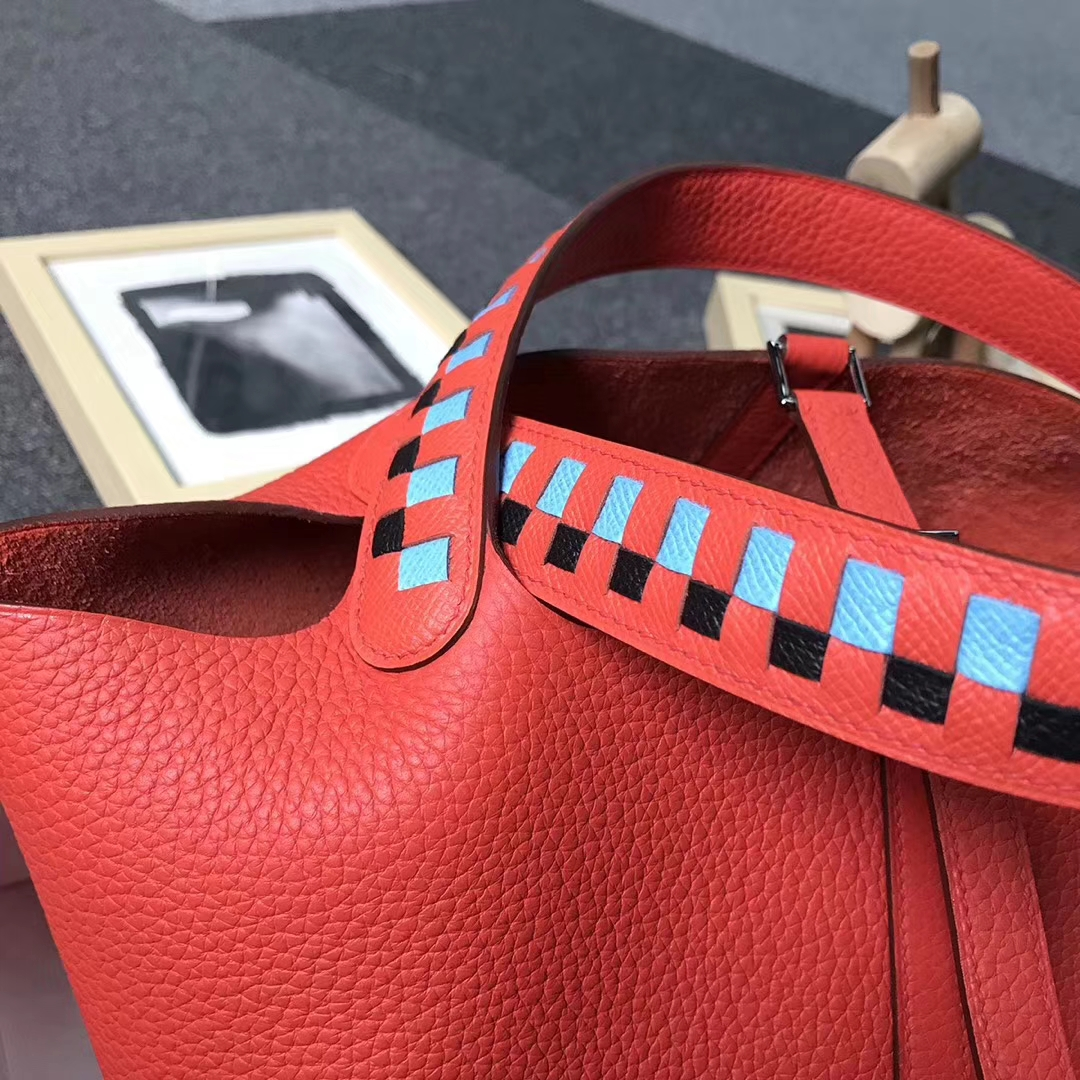 Hermès(爱马仕)火焰橙色 原厂御用顶级TC 皮 Picotin  Lock 22 cm 银扣 现货 编织手柄
