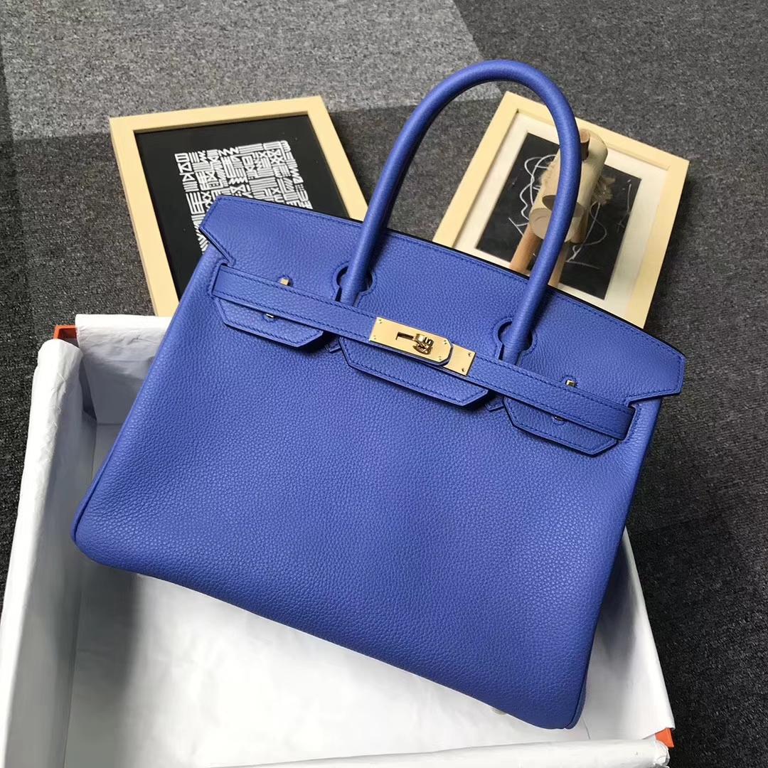 Hermès(爱马仕)7E明蓝色 原厂御用顶级小牛皮 Birkin 30 金扣