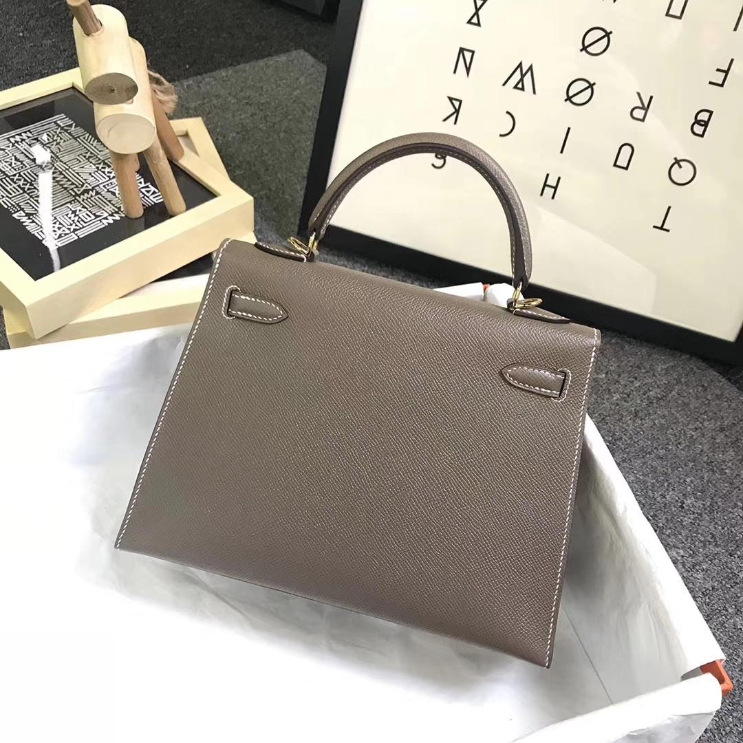 Hermès(爱马仕)CK18 大象灰 原厂御用顶级Epsom 皮 Kelly 25 外缝金扣 现货