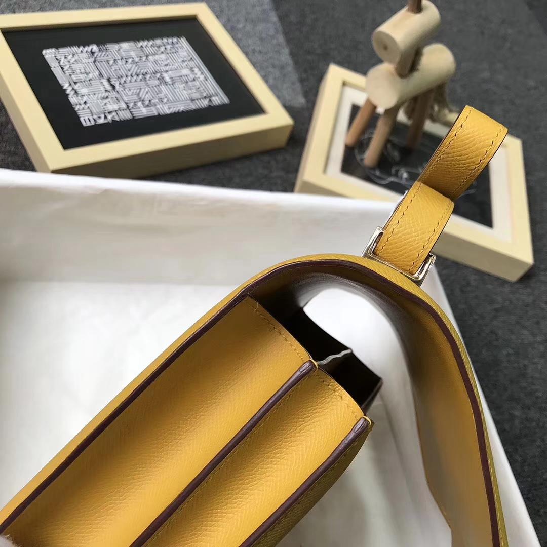 Hermès(爱马仕)9D琥珀黄 原厂御用顶级Epsom 皮 Constance 24 金扣 现货