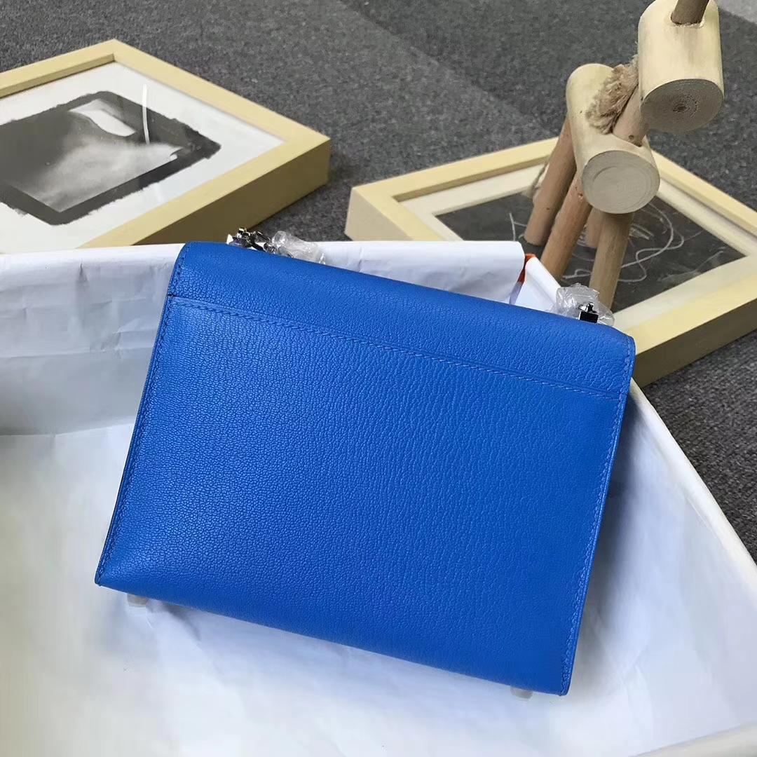 Hermès(爱马仕)水妖蓝 原厂御用顶级山羊皮 Verrou 插销包 现货