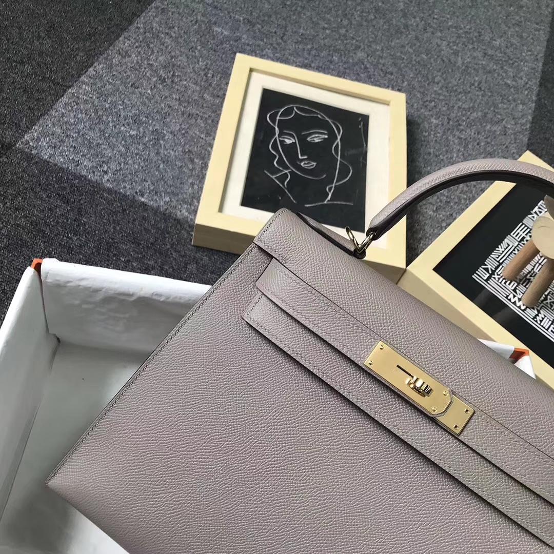 Hermès(爱马仕)M8 沥青灰 原厂御用顶级Epsom 皮 Kelly 25 外缝 金扣 现货