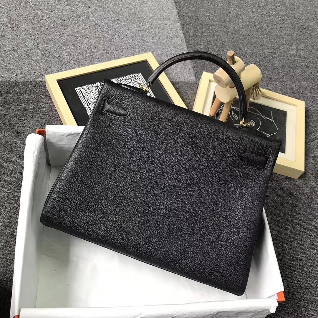 Hermès(爱马仕)CK89 黑色 原厂御用顶级小牛皮 Kelly 32 金扣