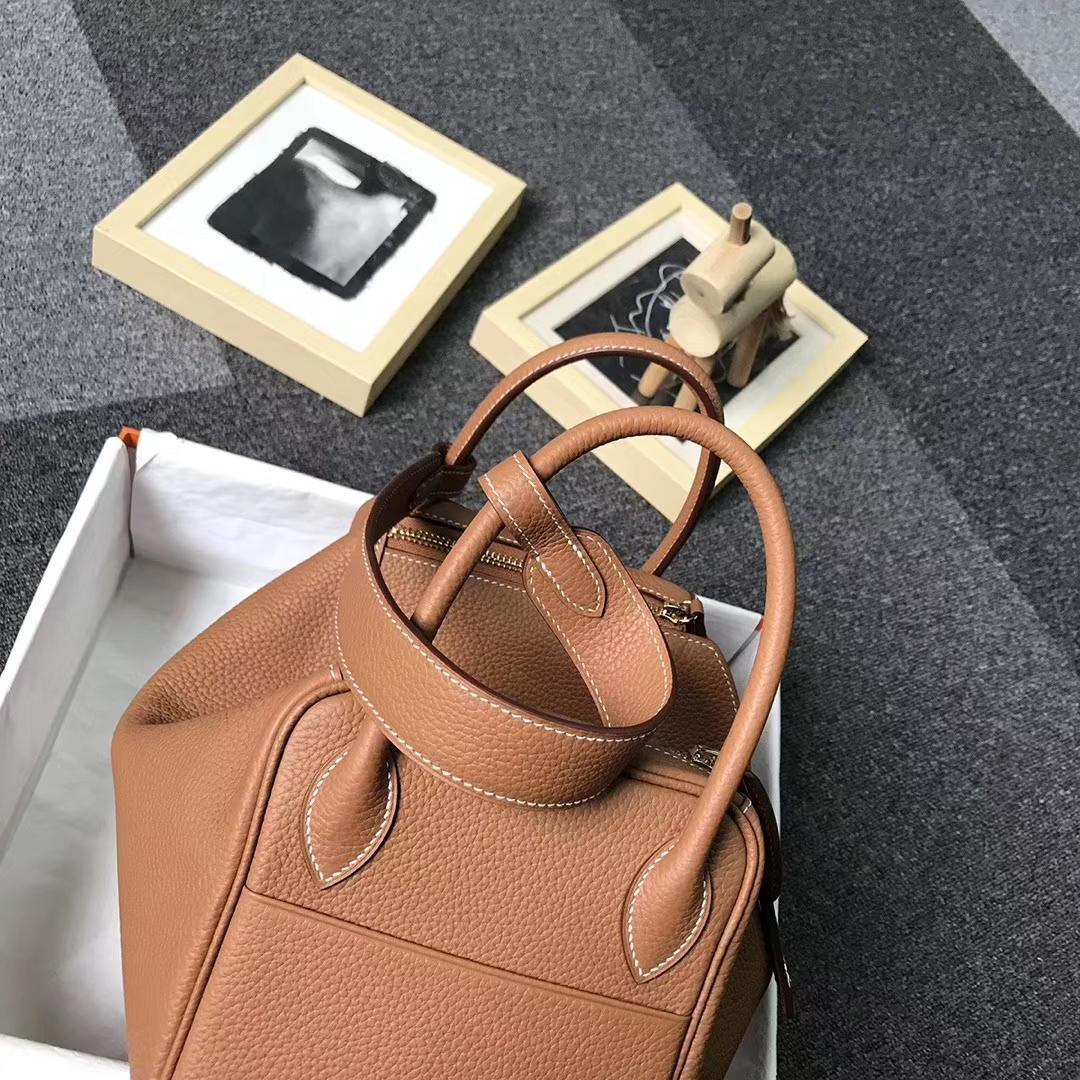 Hermès(爱马仕)金棕色 原厂御用顶级TC 皮 Lindy 30 金扣 银扣 现货