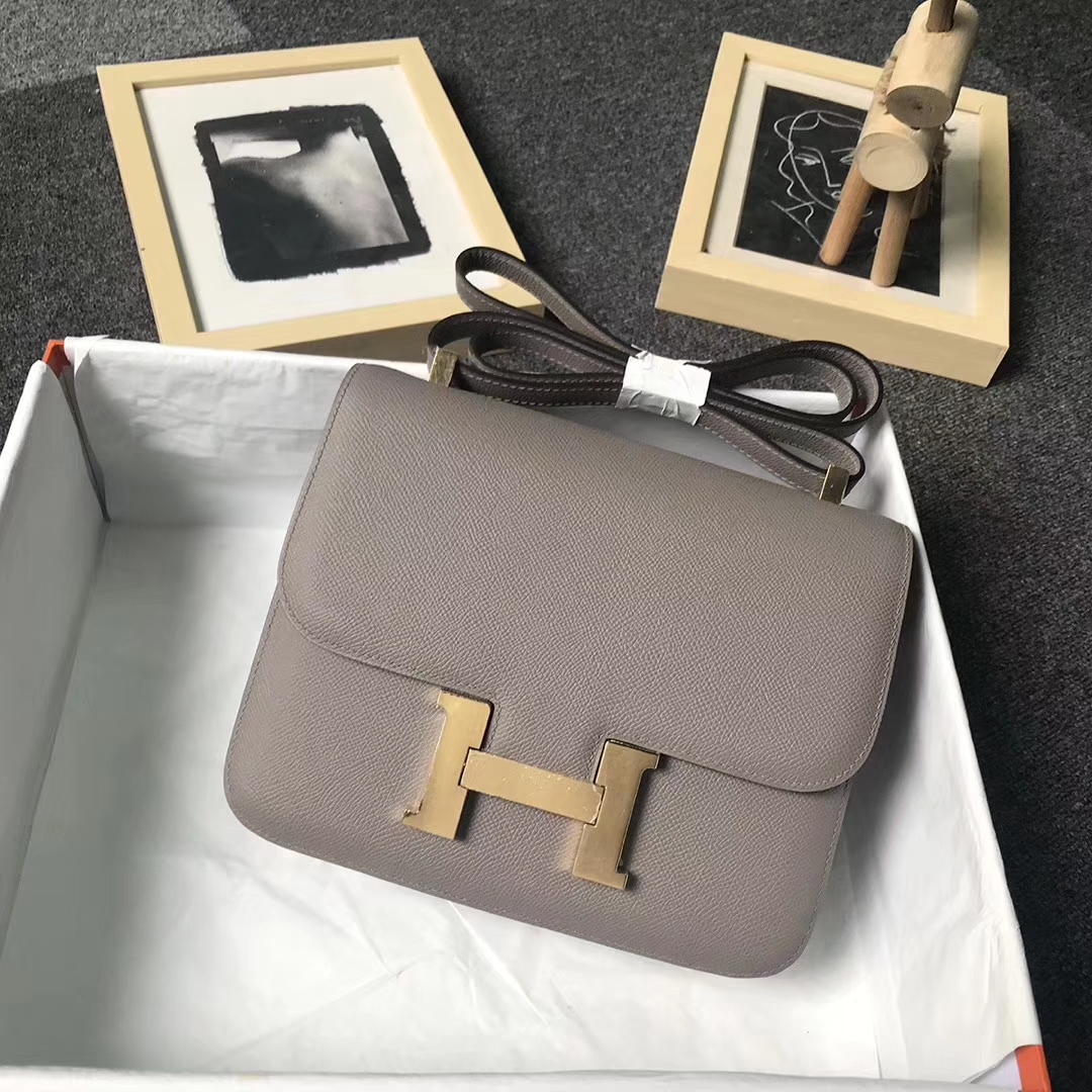 Hermès(爱马仕)M8 沥青灰 原厂御用顶级Epsom 皮 Constance 24 金扣 现货
