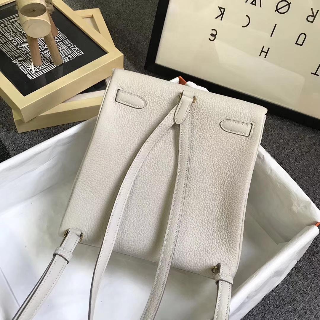 Hermès(爱马仕)奶昔白 原厂御用顶级TC 皮 Kelly  ado 20 金扣