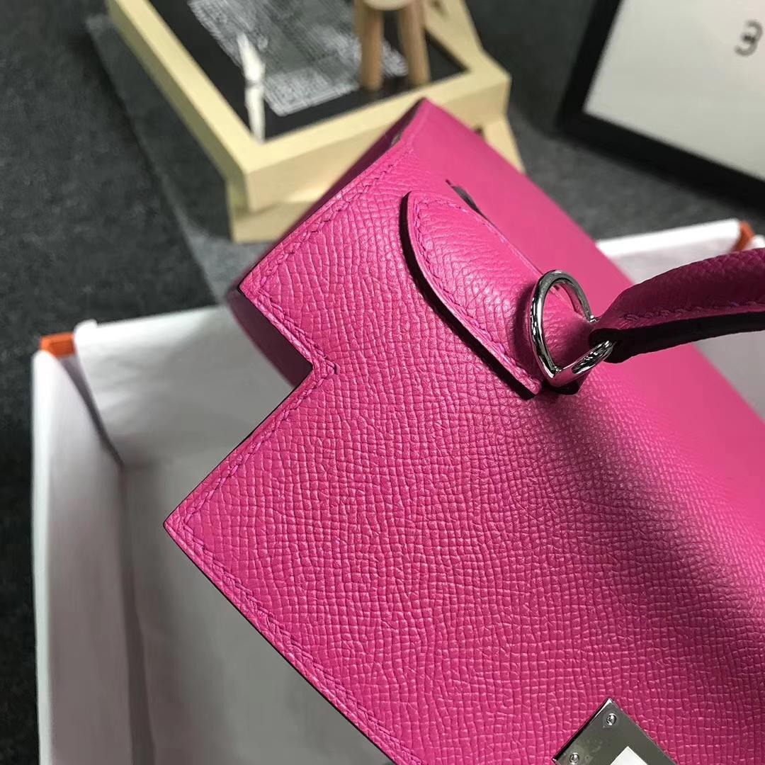 Hermès(爱马仕)L3 玫瑰紫色 原厂御用顶级Epsom 皮 Kelly 28 外缝 银扣