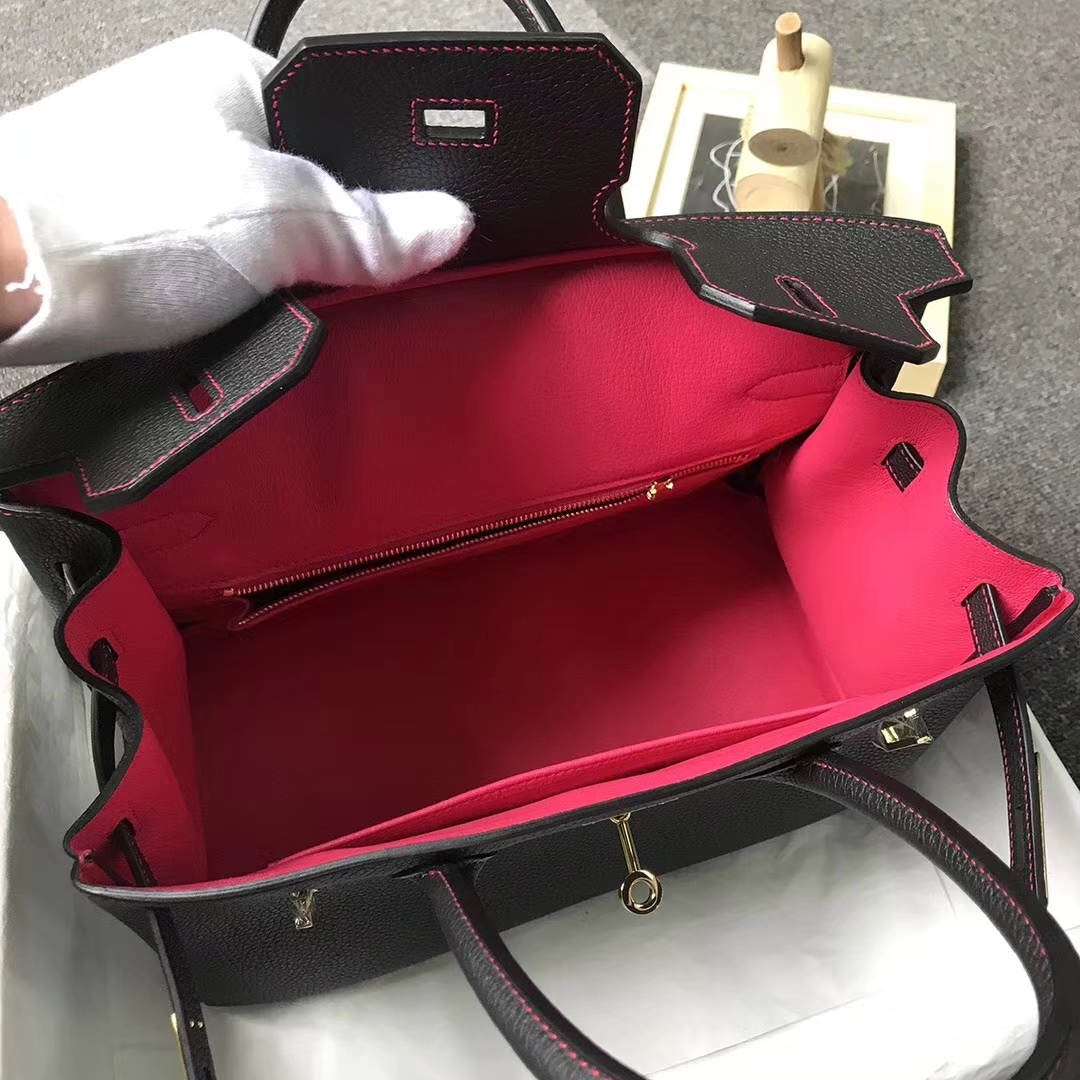 Hermès(爱马仕)CK89 黑色拼桃红色 原厂御用顶级小牛皮 Birkin 30 金扣