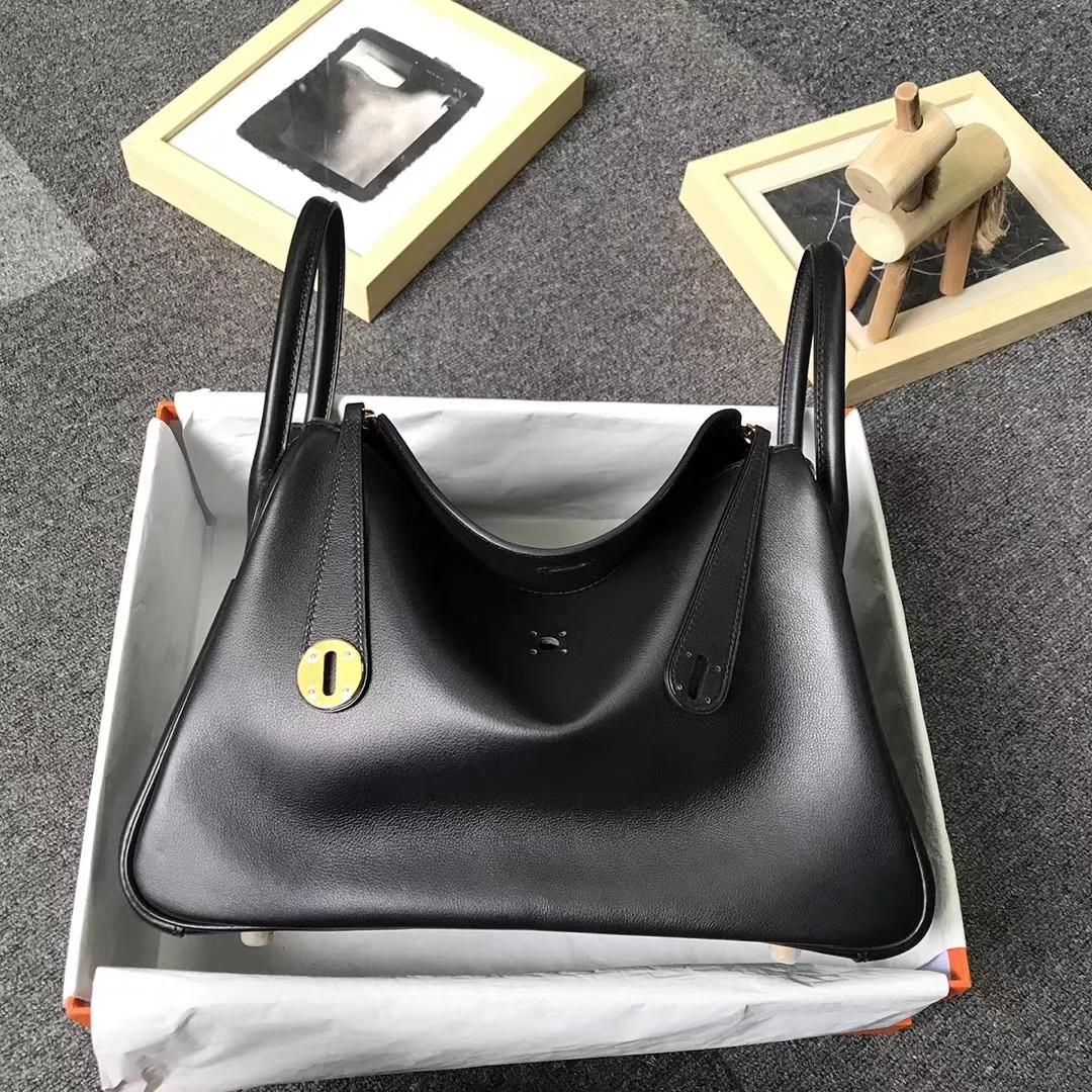 Hermès(爱马仕)CK89 黑色 原厂御用顶级Swift 皮 Lindy 30 金扣 黑色 白色 Epsom 皮编织肩带