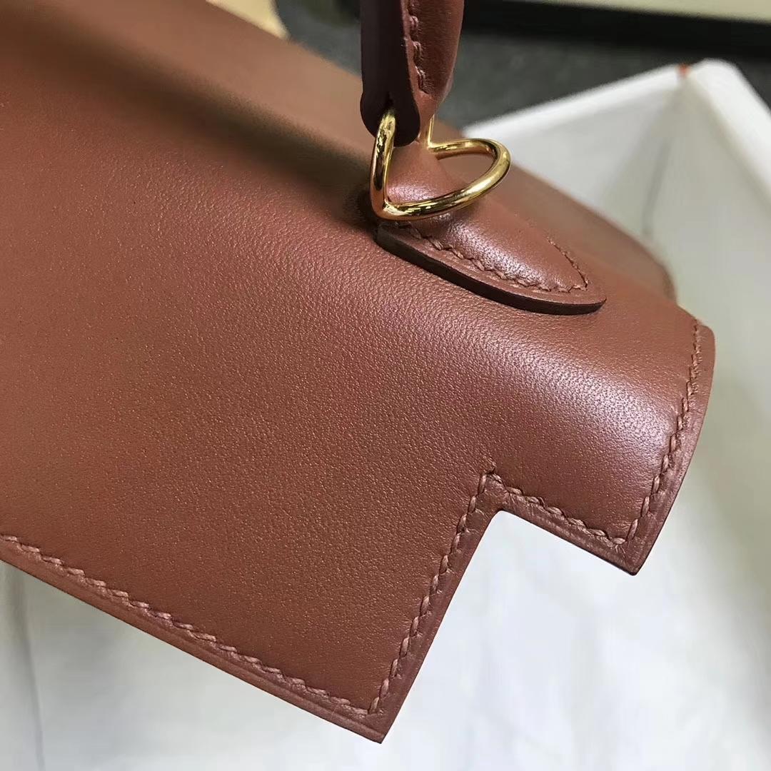 Hermès(爱马仕)蜜糖棕色 原厂御用顶级Swift 皮 Kelly 25 外缝 金扣