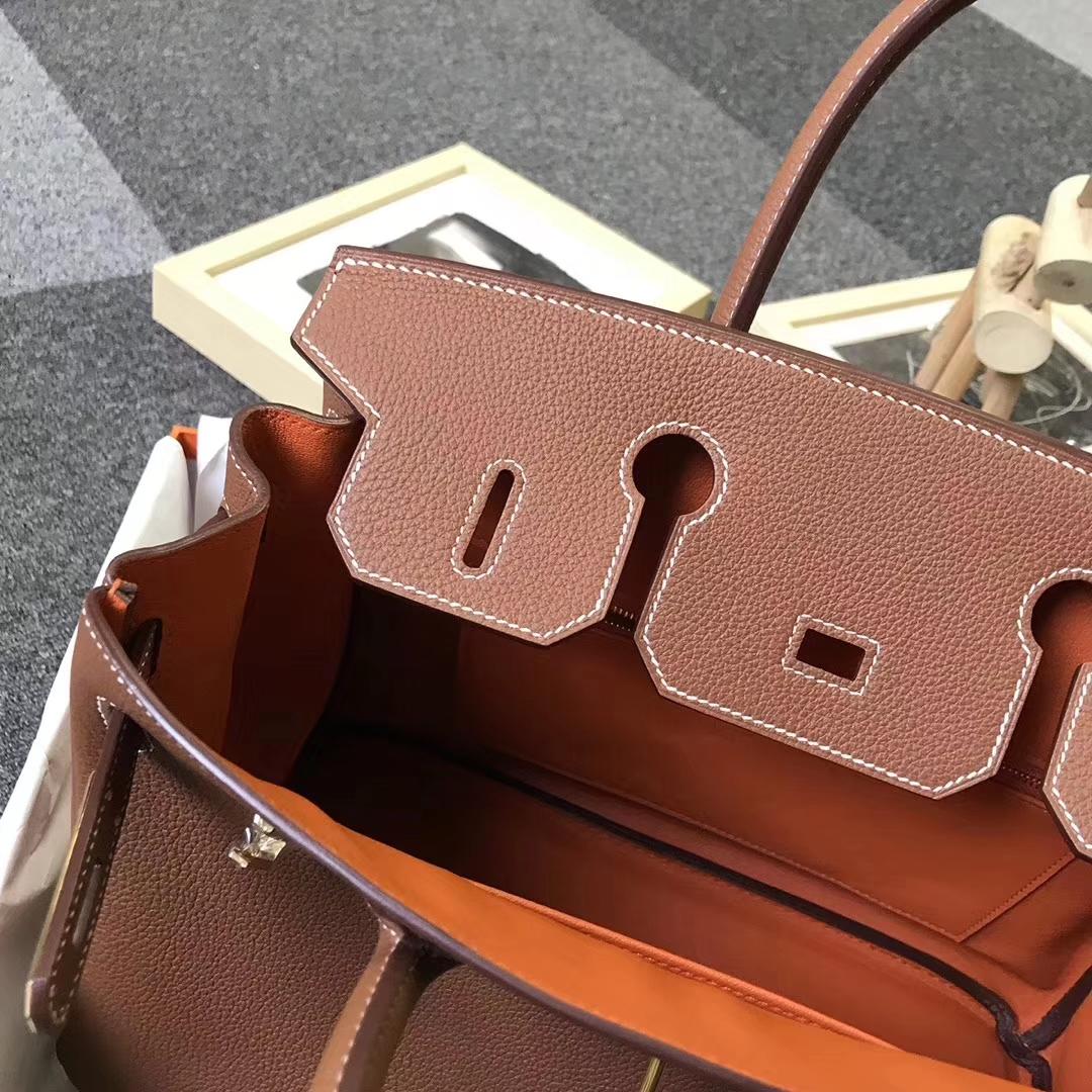 Hermès(爱马仕)金棕色内拼橙色 原厂御用顶级小牛皮 Birkin 30 金扣