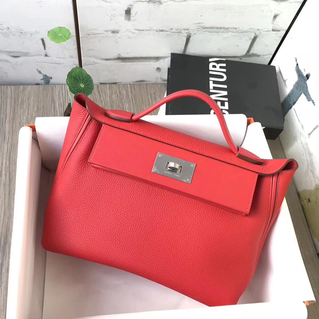 Hermès(爱马仕)S5番茄红 原厂御用顶级小牛皮 2424 银扣