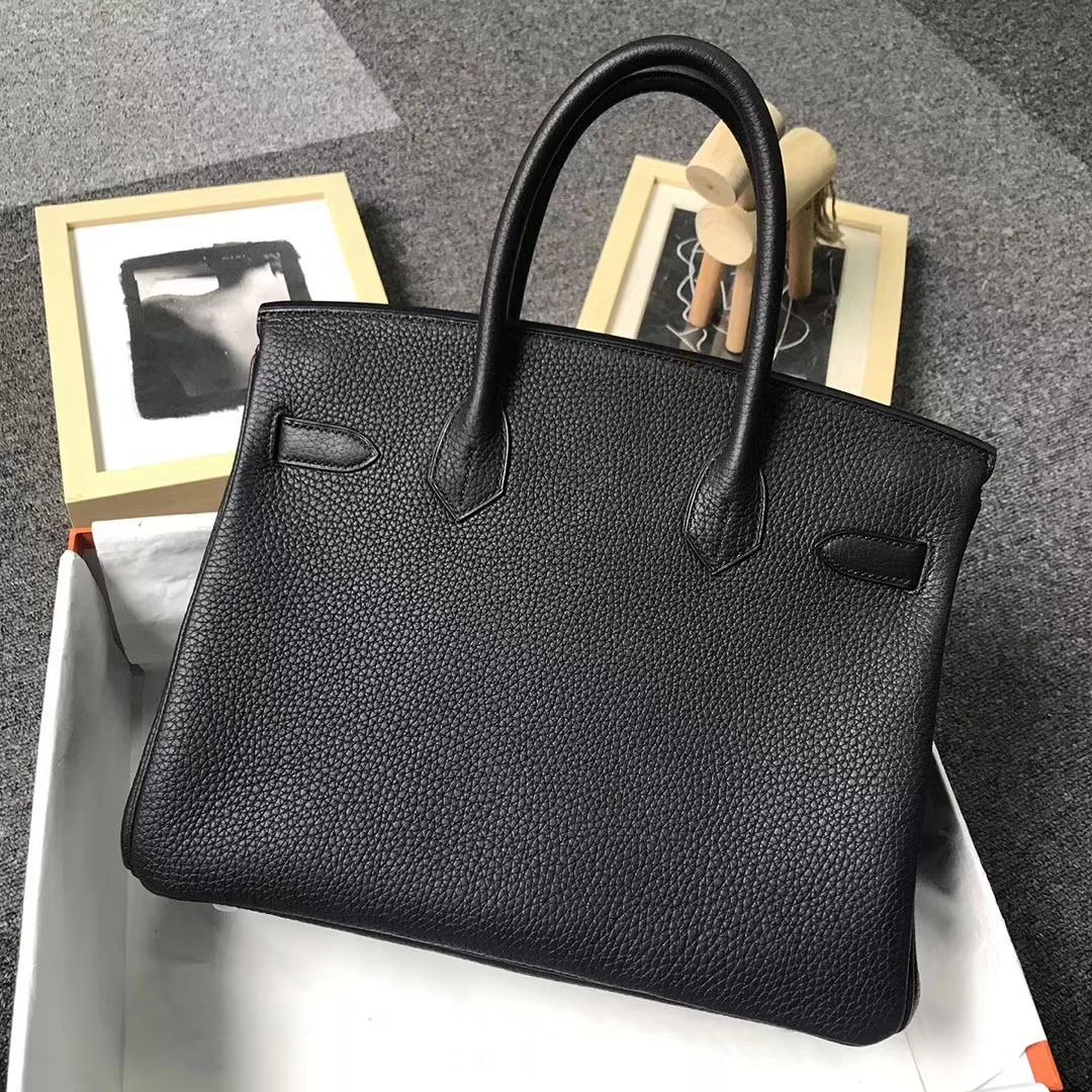 Hermès(爱马仕)黑色 原厂御用顶级小牛皮 Birkin 30 金扣 银扣 现货