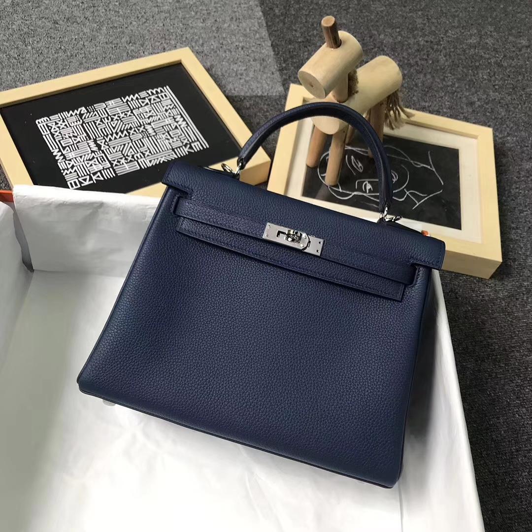 Hermès(爱马仕)7K宝石蓝 原厂御用顶级小牛皮 Kelly 25 银扣
