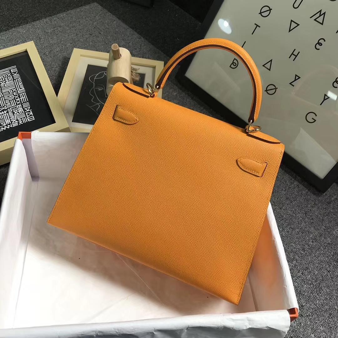 Hermès(爱马仕)9V太阳金黄 原厂御用顶级Epsom 皮 Kelly 28 外缝 金扣