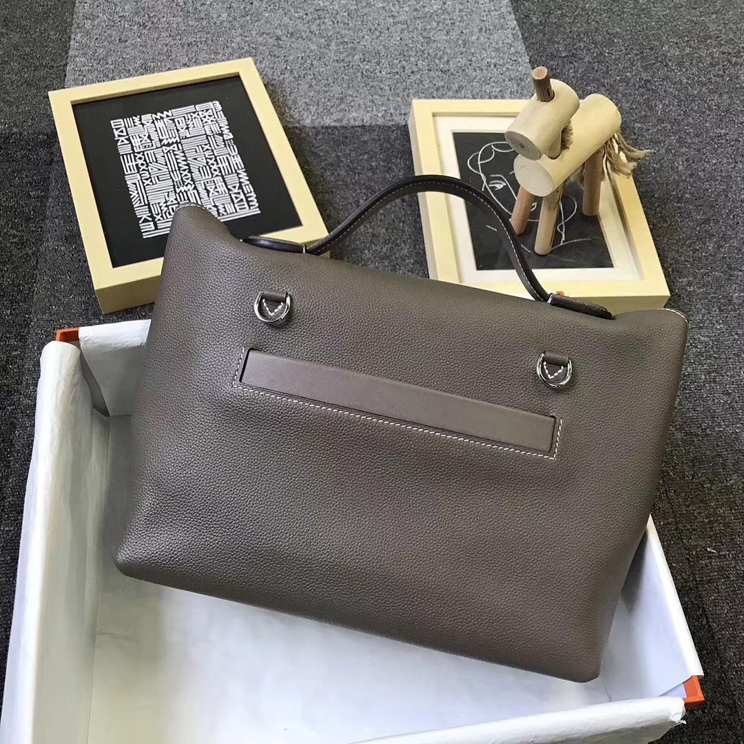 Hermès(爱马仕)ck18大象灰 原厂御用顶级小牛皮 2424 银扣