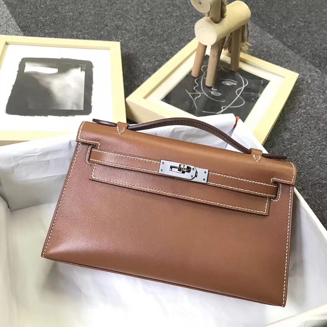 Hermès(爱马仕)金棕色 原厂御用顶级Swift 皮 Mini Kelly 银扣