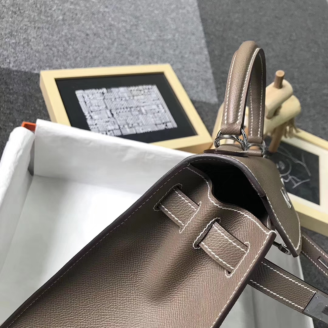 Hermès(爱马仕)CK18 大象灰 原厂御用顶级Epsom 皮 Kelly 25 外缝 银扣 现货