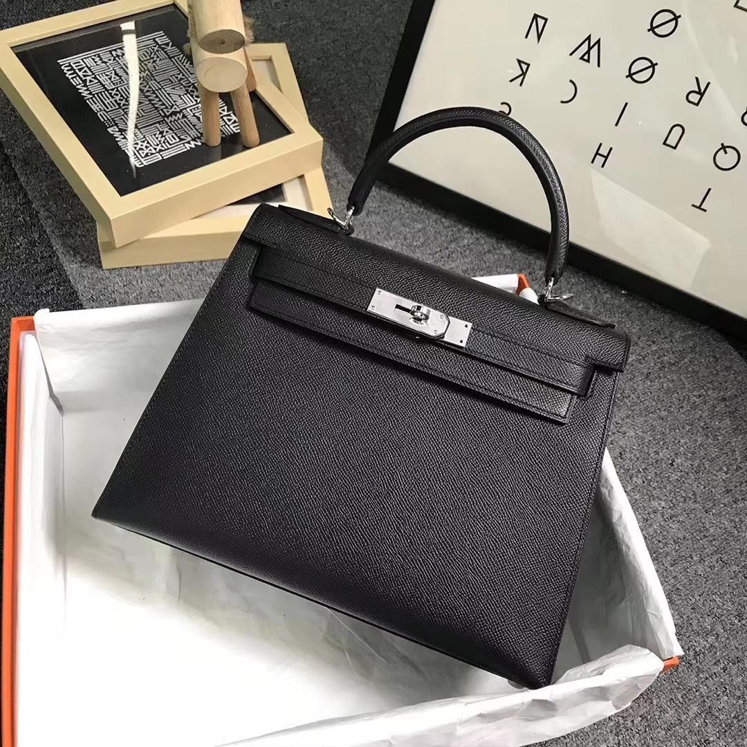 Hermès(爱马仕)CK89 黑色 原厂御用顶级Epsom 皮 Kelly 28 外缝 银扣
