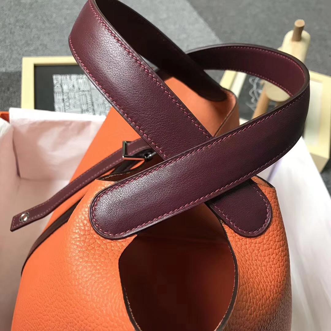 Hermès(爱马仕)橙色拼酒红色 原厂御用顶级TC 皮 Picotin  Lock 22 cm 银扣