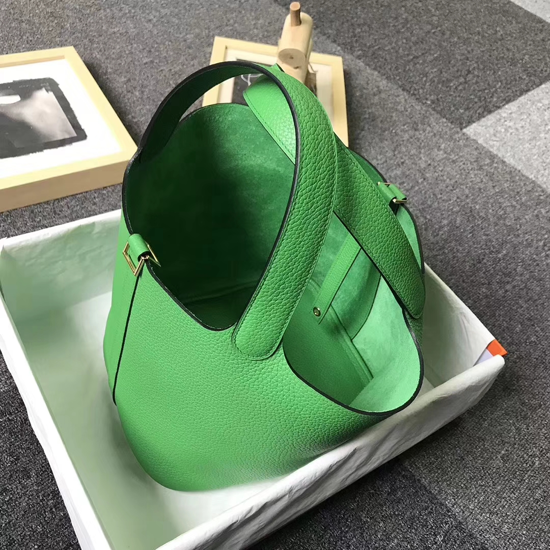 Hermès(爱马仕)1K竹子绿 原厂御用顶级TC 皮 Picotin  Lock 22 cm 金扣