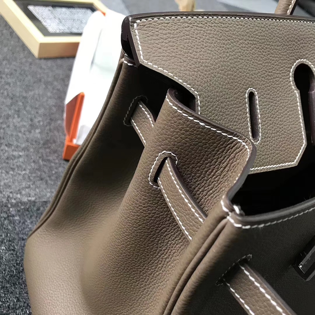 Hermès(爱马仕)CK18 大象灰 原厂御用顶级小牛皮 Birkin 40 银扣