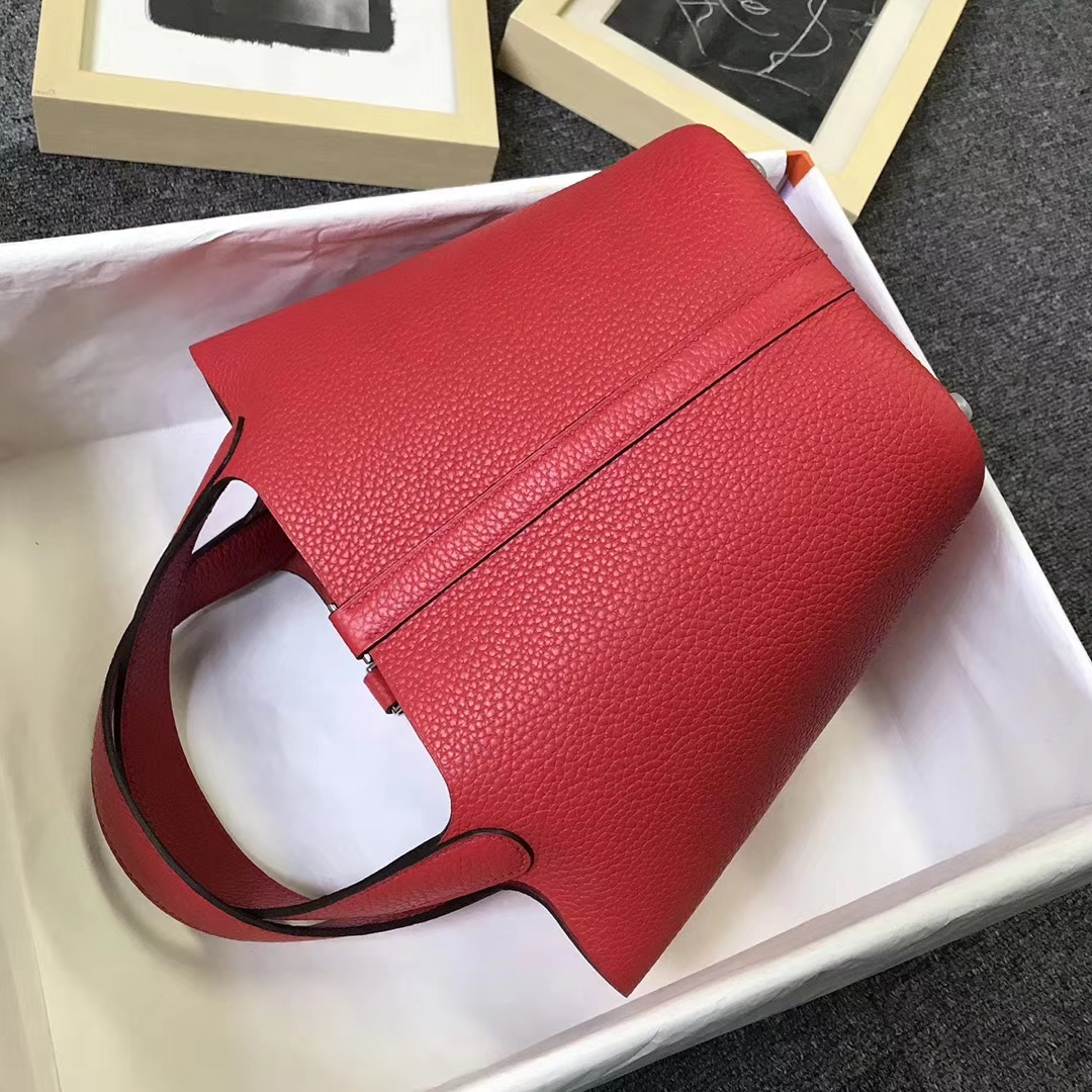 Hermès(爱马仕)番茄红 原厂御用顶级TC 皮 Picotin  Lock 18 cm 银扣 现货
