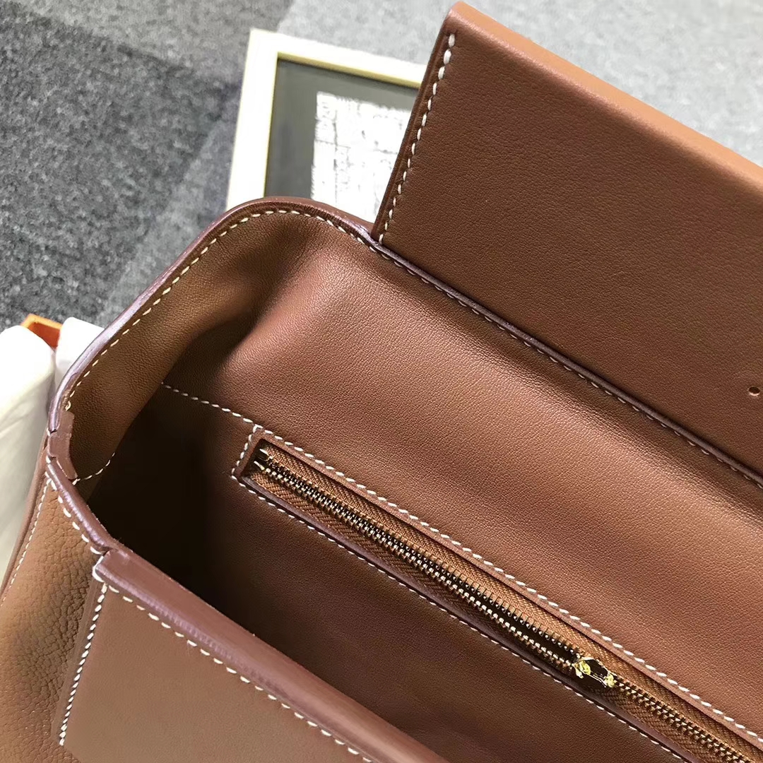 Hermès(爱马仕)C37浅咖啡 原厂御用顶级小牛皮 2424 金扣
