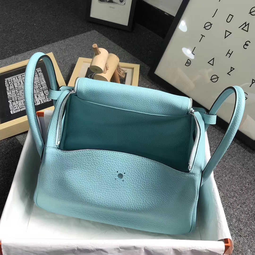 Hermès(爱马仕)3P马卡龙蓝 原厂御用顶级TC 皮 Lindy 30 银扣