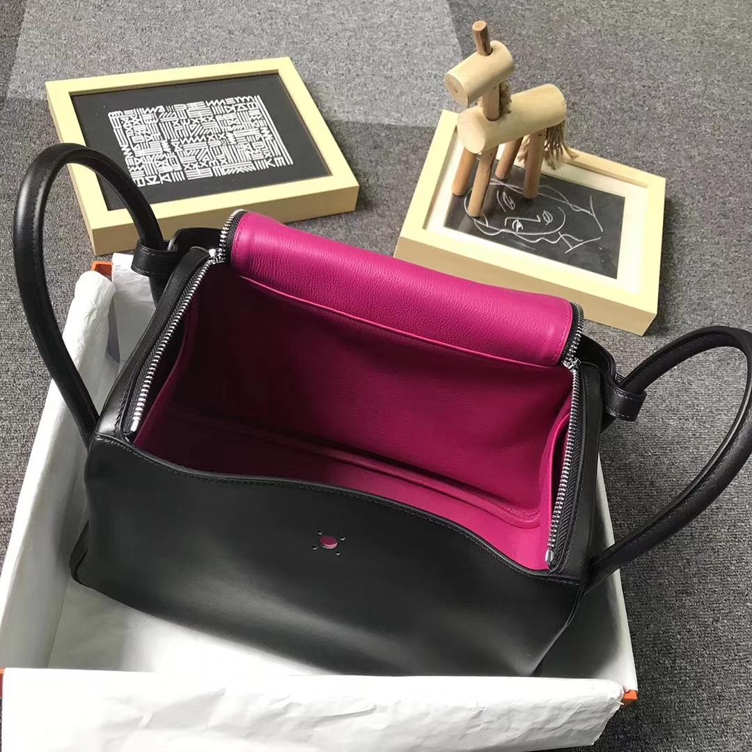 Hermès(爱马仕)黑色内拼L3 玫瑰紫色 原厂御用顶级Swift 皮 Lindy 30 银扣