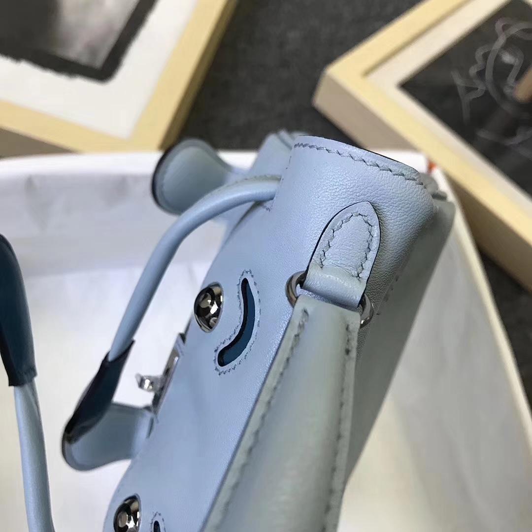 Hermès(爱马仕)微风蓝拼普鲁士蓝 原厂御用顶级Swift 皮 Kelly Doll 银扣 现货