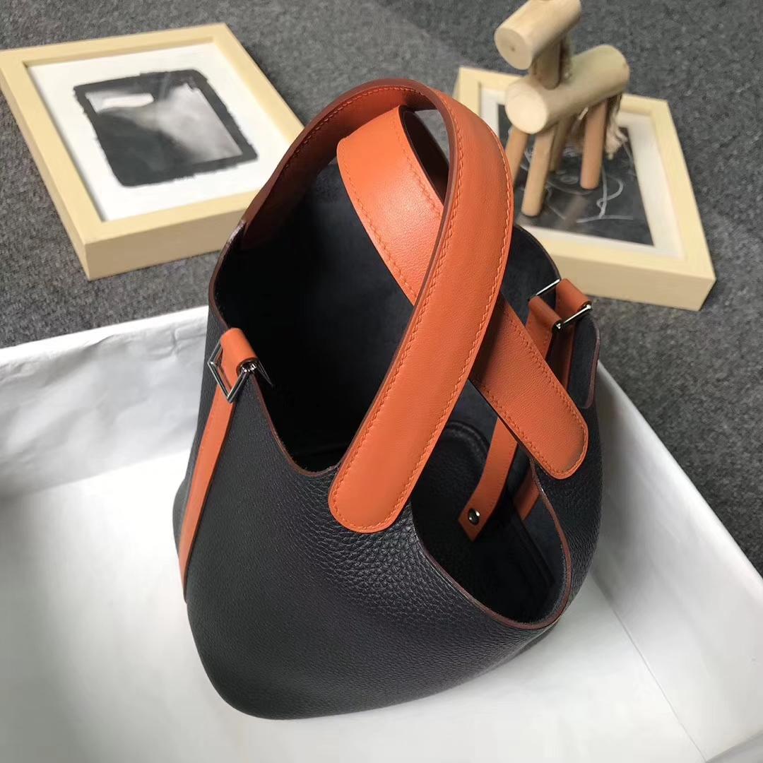 Hermès(爱马仕)黑色拼橙色 原厂御用顶级TC 皮 Picotin  Lock 18 cm 银扣