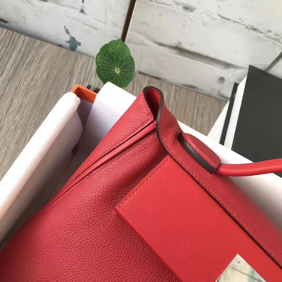 Hermès(爱马仕)9T火焰红 原厂御用顶级小牛皮 2424 银扣