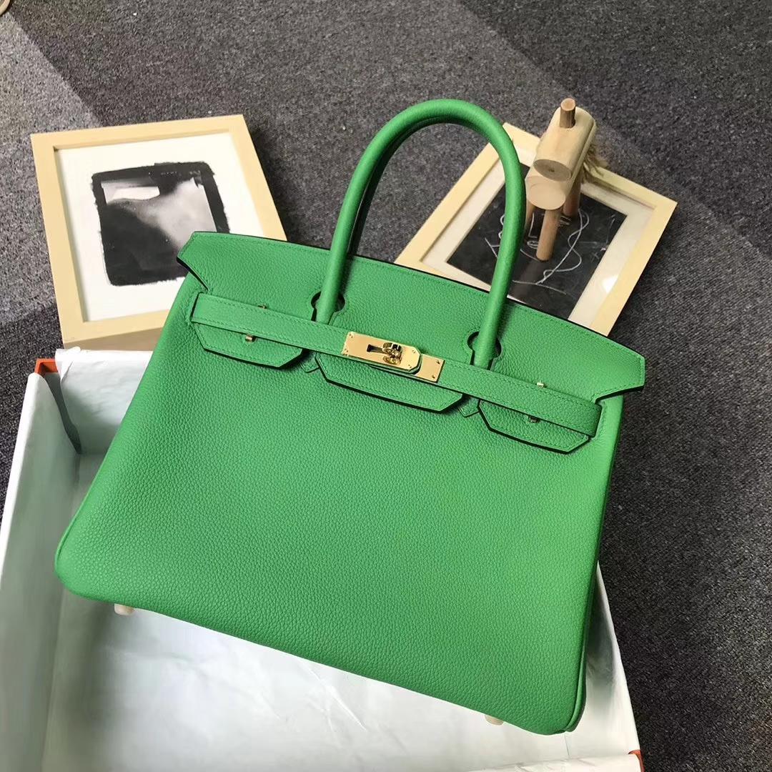 Hermès(爱马仕)1K竹子绿 原厂御用顶级小牛皮 Birkin 30 金扣