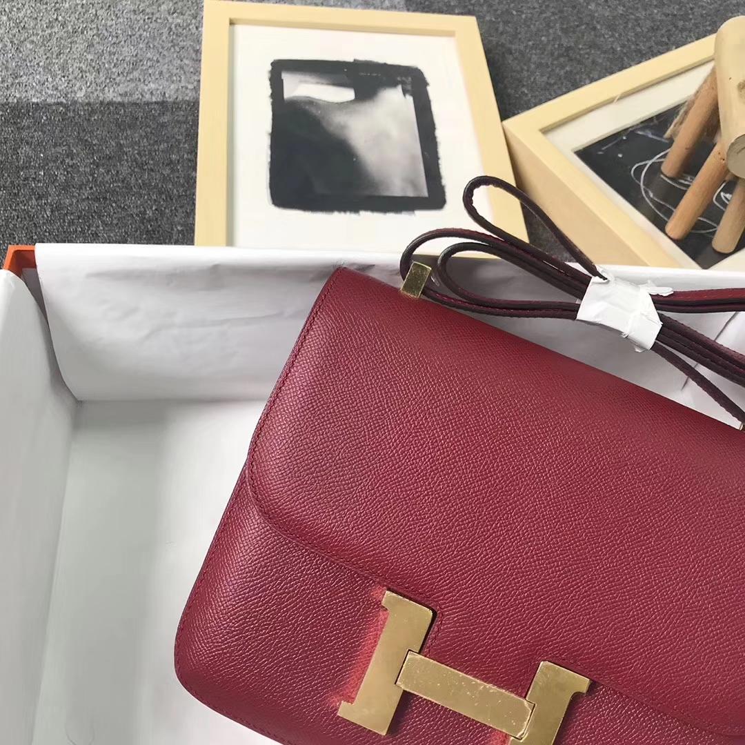 Hermès(爱马仕)K1 石榴红 原厂御用顶级Epsom 皮 Constance 24 金扣
