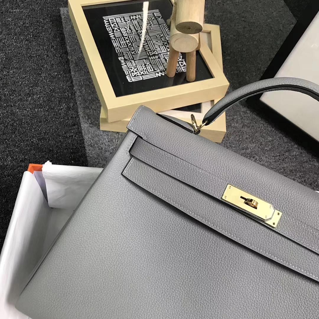 Hermès(爱马仕)4Z海鸥灰 原厂御用顶级小牛皮 Kelly 32 金扣