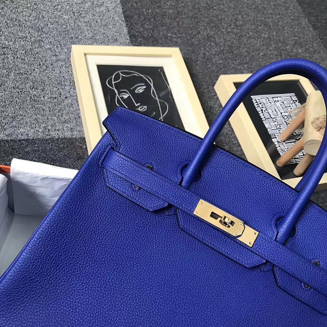 Hermès(爱马仕)电光蓝 原厂御用顶级小牛皮 Birkin 30 金扣