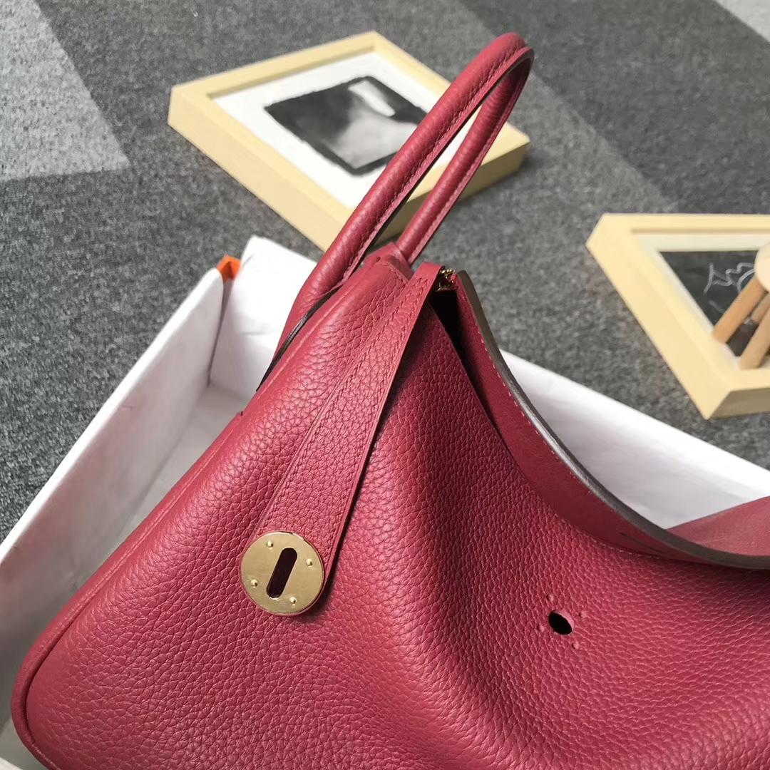 Hermès(爱马仕)K1 石榴红 原厂御用顶级TC皮 Lindy 30 金扣